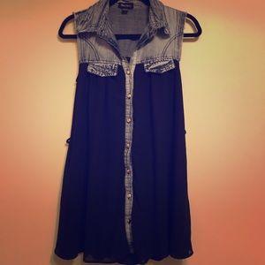 Seductions Denim/Fabric Shirt Dress Small